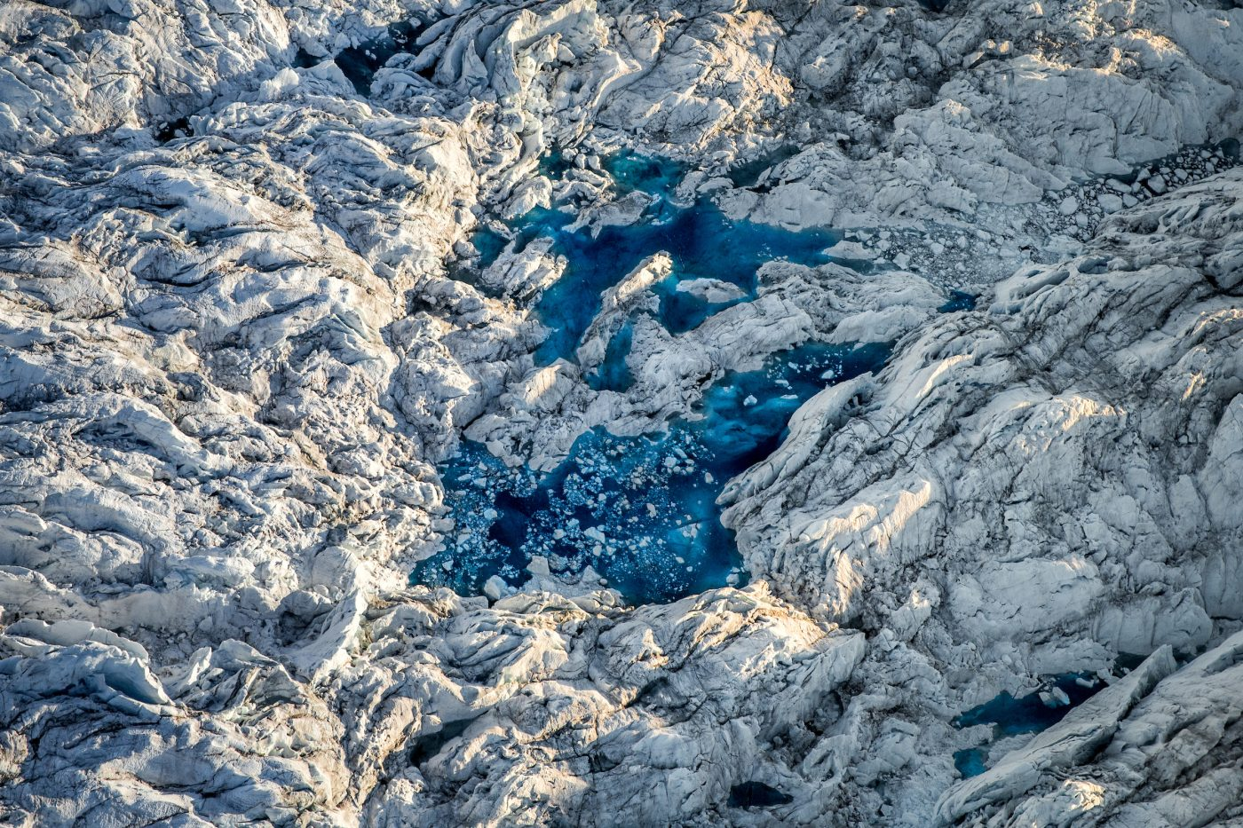 A meltwater lake on the Greenland ice sheet near Ilulissat ice fjord