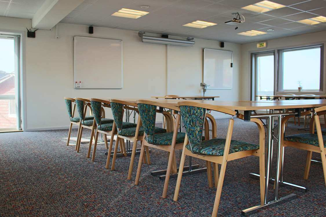 Conference room and private terrace with view over the sea. Photo by Aasiaat Sømandshjem