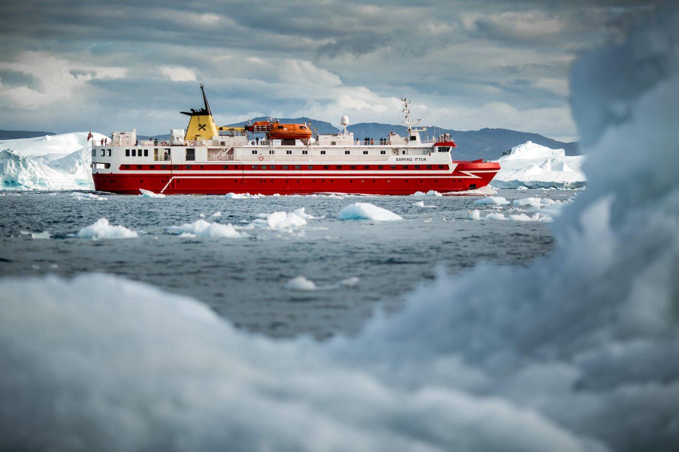 Sarfaq Ittuk cruising in the Disko Bay outside Ilulissat ice fjord in Greenland. Visit Greenland