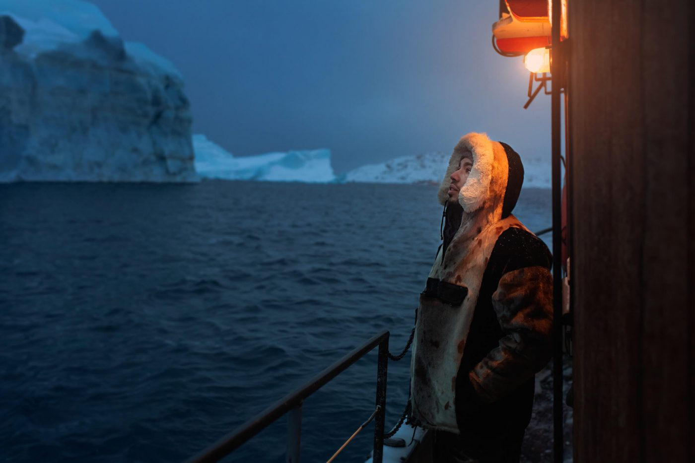 Canadian social media influencer Siya Zarrabi on an iceberg boat tour in Ilulissat in Greenland. By Rebecca Gustafsson