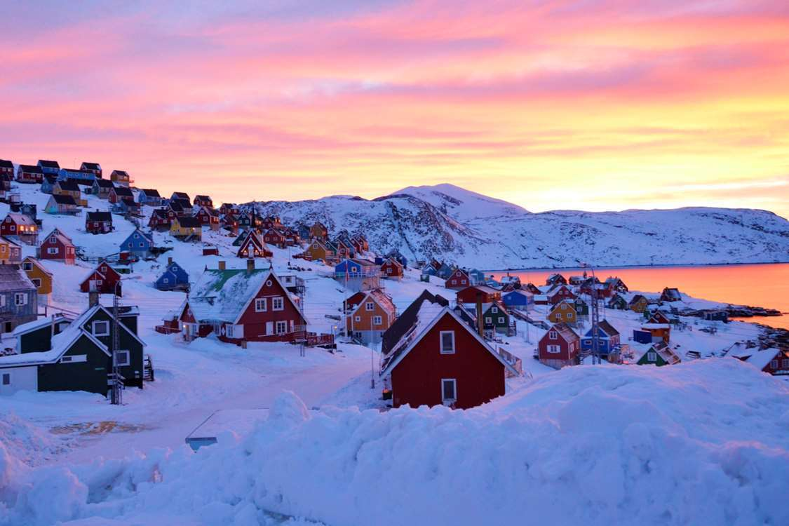 Beautiful sunset and view over Upernavik. Photo by John Kislov