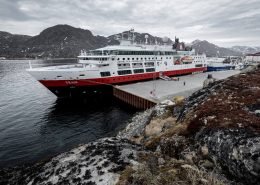 MS Fram from Hurtigruten docked alongside in Sisimiut, Greenland. Photo by Mads Pihl, Visit Greenland