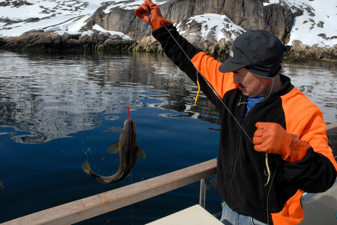 Fishing in the Eternity Fjord in West Greenland. Photo by Jörg Ehrlich