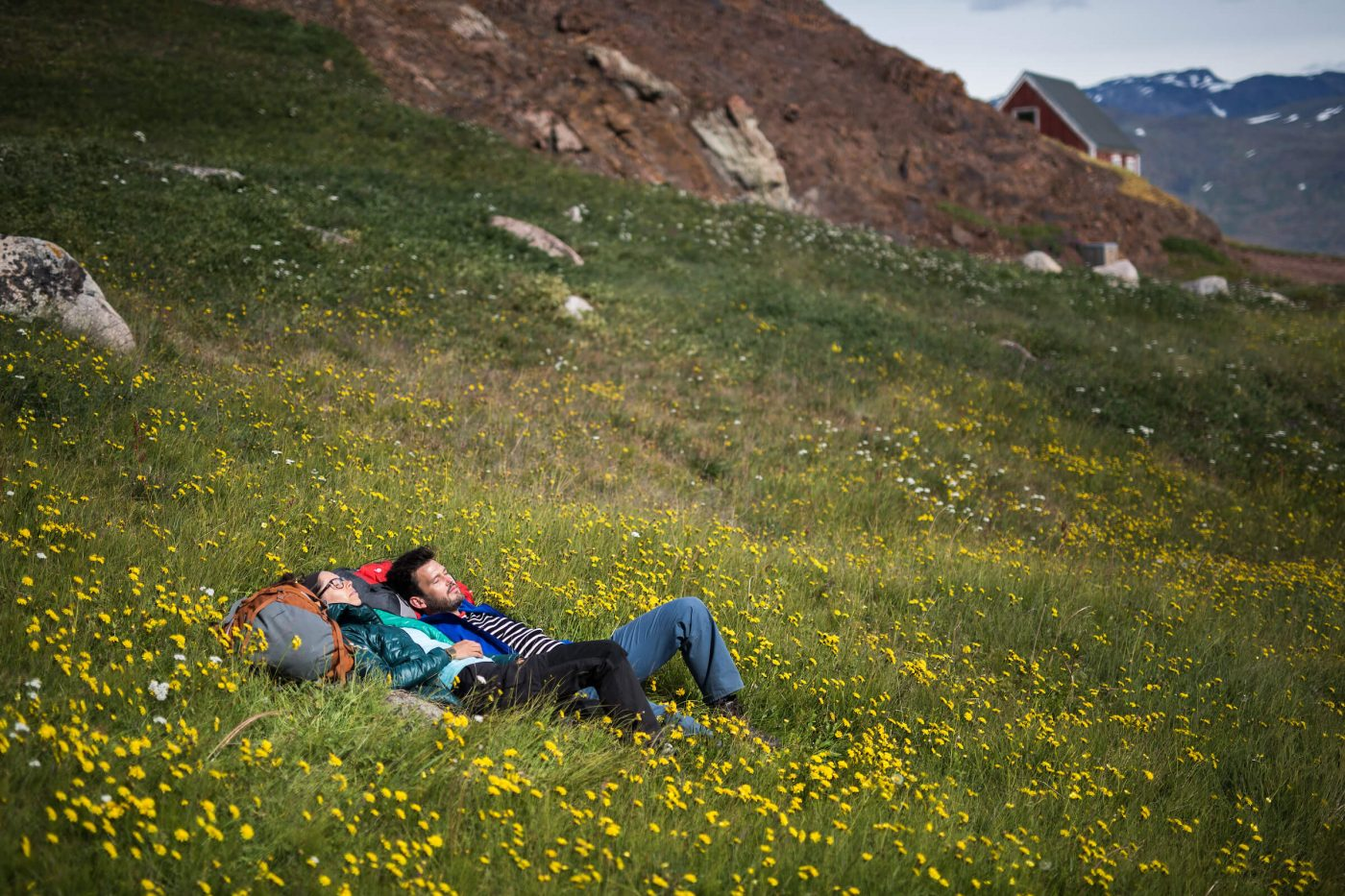 Hikers relaxing in a field of flowers in Qassiarsuk. The 5 most boring places in Greenland
