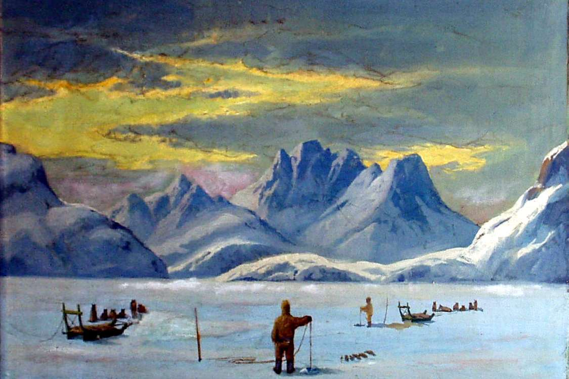 Oil painting by Emmanuel A. Petersen, a Danish painter famous for his paintings of Greenland. Photo by Ilulissat Art Museum