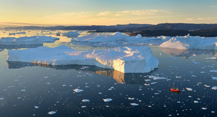 Ilulissat Icefjord from the air near midnight