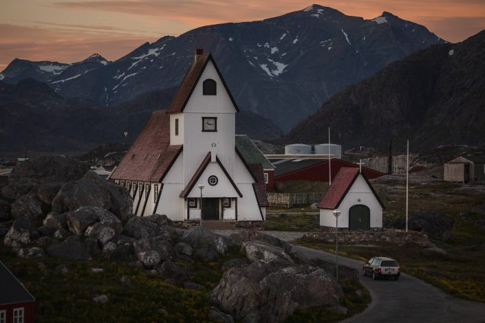 The white church in Nanortalik in South Greenland