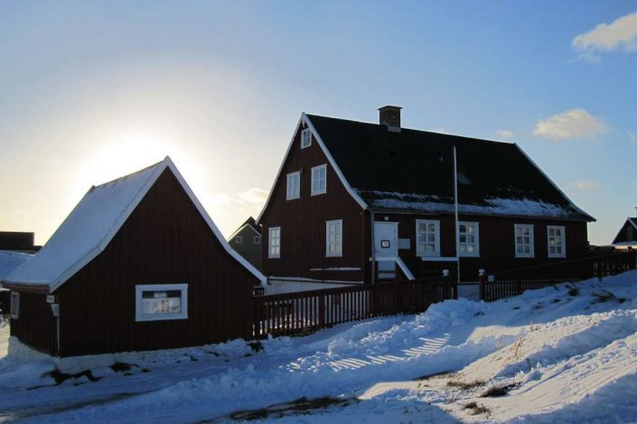 Main building of museum in South Greenland in Winter. Photo by Nanortalik Museum