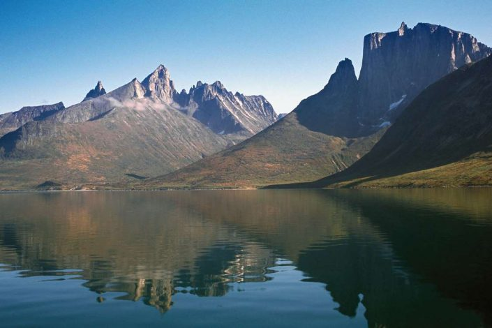 The steep Nalumasortoq mountain and the beautiful fjord of Tasermiut, South Greenland in Summer. Photo by Nanortalik Tourism Service
