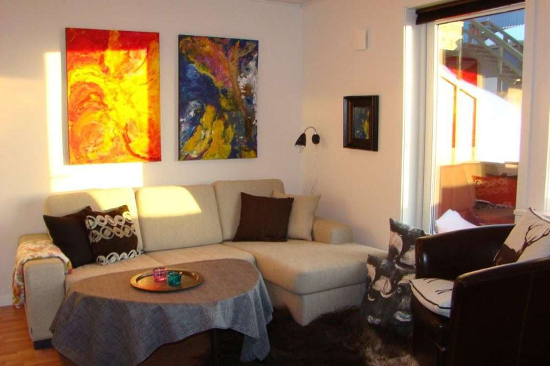 Living room in one of the hotel apartments in Nuuk, Greenland. Photo by Nuuk Inn and Wellness.
