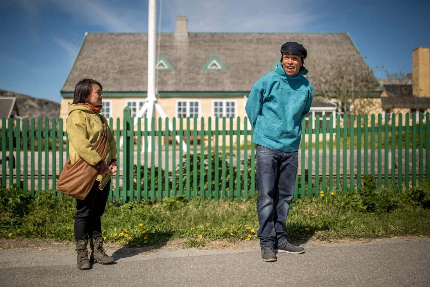Two actors recreating historical events in the old colonial part of Nuuk in Greenland